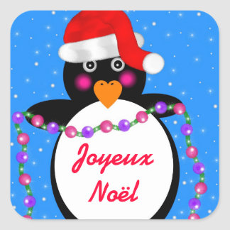 Holiday Penguin Square Sticker