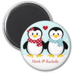 Holiday Penguins Christmas Magent 6 Cm Round Magnet