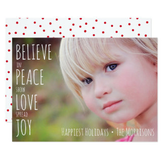 Holiday Photo Believe Joy Peace Love Christmas Card