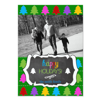 Holiday Photo Card Chalkboard Colorful Trees