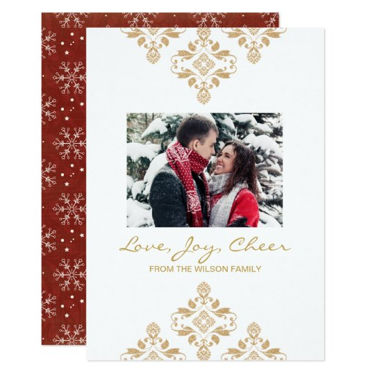 Holiday photo card christmas gold glitter red