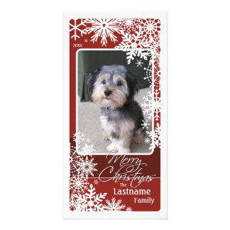 Holiday Photo Card: Let It Snow! Burgundy Card