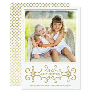 Holiday Photo Card / Modern Scrolls / White Gold