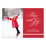 Holiday Photo Card | Peace and Joy in Red & White 13 Cm X 18 Cm Invitation Card