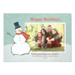 Holiday Photo Card | Winter Snowman Theme Personalised Invitation