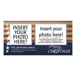 holiday photo card with a patriotic theme
