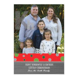 Holiday Photo Card with Polkadot Theme - 5 x 7 13 Cm X 18 Cm Invitation Card