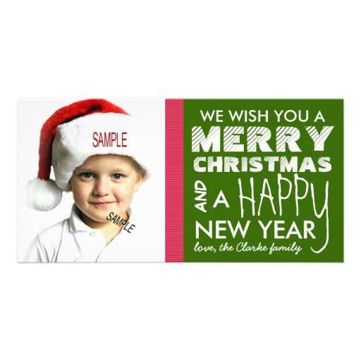 Holiday Photo Christmas and New Year Wishes Photo Card Template