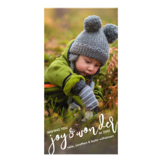 Holiday Photo Christmas Joy & Wonder Hand-Lettered Card