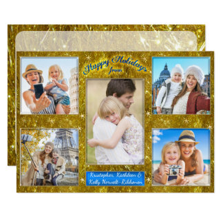 Holiday Photo Collage Gold Tinsel Personalized Card