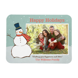 Holiday Photo Magnet   Winter Snowman Theme