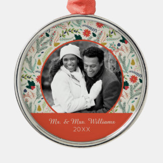 Holiday Photo | Merry Christmas Holiday Floral Metal Ornament