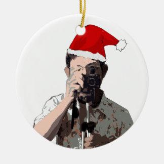 Holiday Photographer Ceramic Ornament