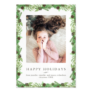 Holiday Pine | Christmas Photo Magnetic Card
