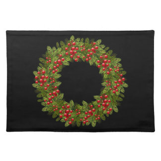 Holiday Placemat-Red Berry Wreath Placemat