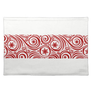 Holiday Placemat-Red Snowflake Swirl Placemat