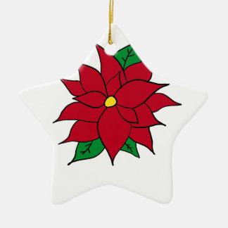 HOLIDAY POINSETTIA / FLOWER, CHRISTMAS CERAMIC ORNAMENT