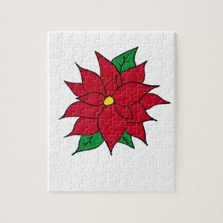HOLIDAY POINSETTIA / FLOWER, CHRISTMAS JIGSAW PUZZLE