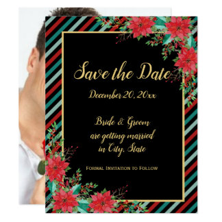 Holiday Poinsettia Stripes Photo Save The Date Card
