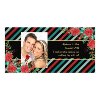 Holiday Poinsettia Stripes Red Green Thank You Card
