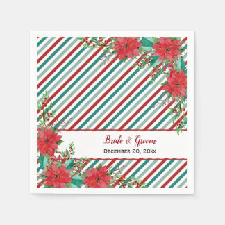 Holiday Poinsettia Stripes Red Green Wedding Disposable Serviettes