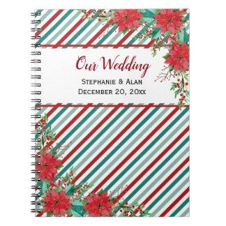 Holiday Poinsettia Stripes Wedding Notebook