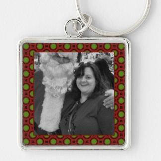 Holiday polka dots square photo frame key ring