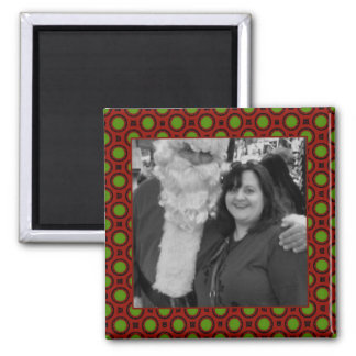 Holiday polka dots square photo frame magnet