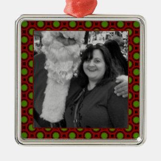 Holiday polka dots square photo frame metal ornament