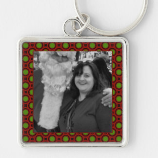 Holiday polka dots square photo frame Silver-Colored square key ring