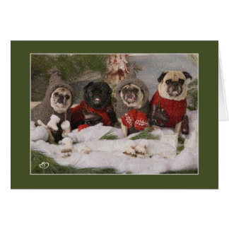 Holiday Pug Skating Party Greeting Card