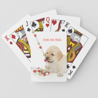 Holiday Puppy Playtime deck the halls Playing Cards