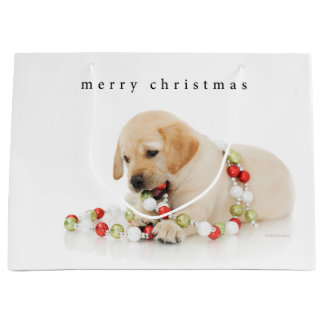 Holiday Puppy Playtime Large Gift Bag