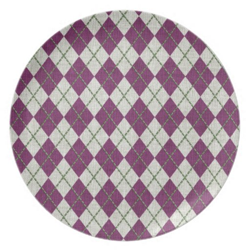 Holiday Purple Green Linen Argyle Pattern Party Plate