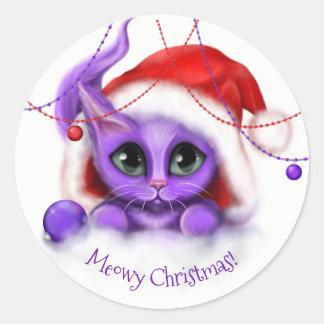 Holiday Purple Kitty Meow Classic Round Sticker