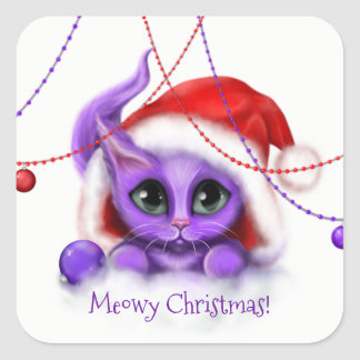 Holiday Purple Kitty Meow Square Sticker