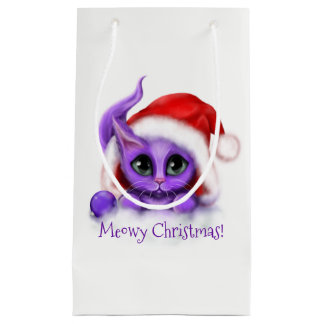 Holiday Purple Kitty Meowy Christmas Small Gift Bag