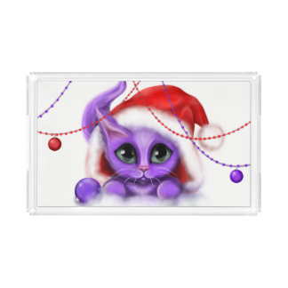 Holiday Purple Kitty Santa Hat Acrylic Tray