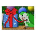 Holiday Quaker Parakeet Christmas Card