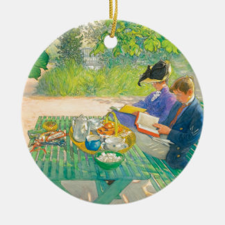 Holiday Reading by Carl Larsson Ceramic Ornament