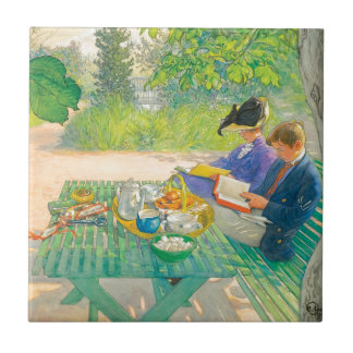 Holiday Reading by Carl Larsson Ceramic Tile