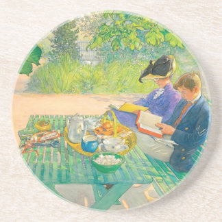 Holiday Reading by Carl Larsson Drink Coaster