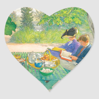 Holiday Reading by Carl Larsson Heart Sticker