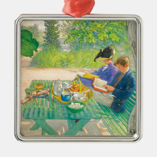 Holiday Reading by Carl Larsson Metal Ornament