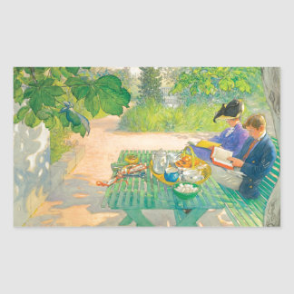 Holiday Reading by Carl Larsson Rectangular Sticker