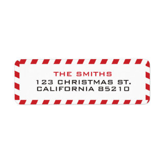 Holiday Red and White Border Return Address Label
