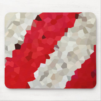 Holiday Red and White Candy Cane Mosaic Abstract Mouse Pad