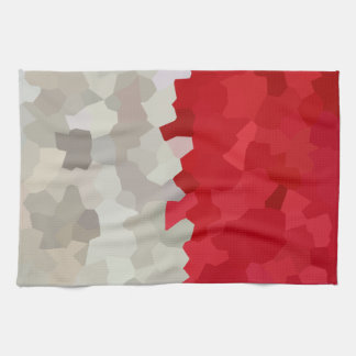 Holiday Red and White Santa Mosaic Abstract Tea Towel