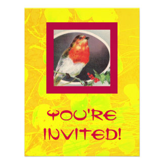 """Holiday Red Bird"" Invitation"