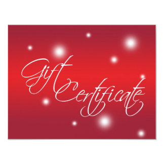Holiday red glow retail business gift certificate 11 cm x 14 cm invitation card